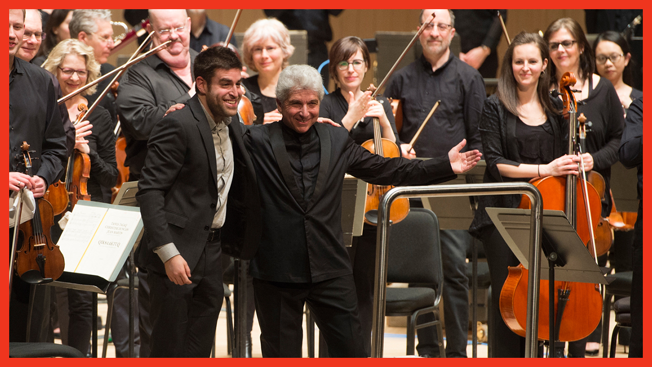 Peter Oundjian, Jordan Pal, and the Toronto Symphony Orchestra after the premiere of Iris