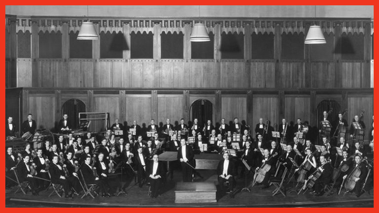 An archival photo of the Toronto Symphony Orchestra